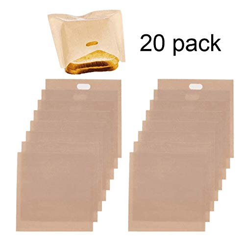 KENOO 20 Pack Non Stick Toaster Bags,Reusable and Heat Resistant,perfect for Grilled Cheese,Sandwich,Pizza Slices,Fish, Microwave,BPA & Gluten Free, Quality Teflon,FDA Approved by KENOO
