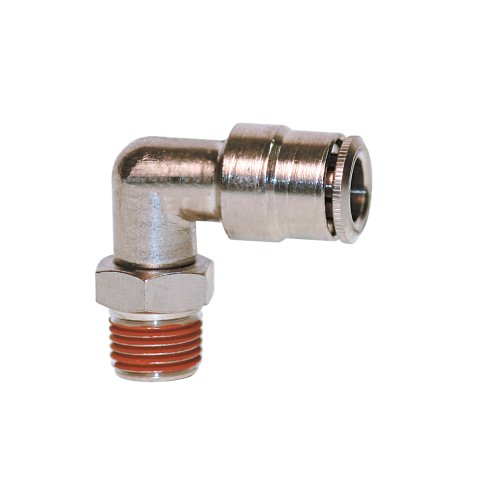 "Brennan PCNB2501-04-02 Nickel-Plated Brass Push-to-Connect Tube Fitting, 90 Degree Elbow, 1/4"" Tube OD x 1/8"" NPT Male"