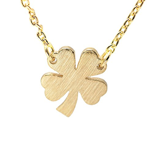 (SpinningDaisy Handcrafted Brushed Metal Irish 4 Leaf Clover Necklace Gold)