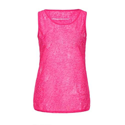 IMJONO Damen Women es Perspective ärmelloses Hohle Löcher Weste Daily Top Camisole Shirt Bluse Leuchtendes Rot Kp8aav