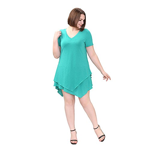 TM Women's Plus Size Clubbing Asymmetrical Trapeze Top Loose Fit Aqua Dress 16W Green