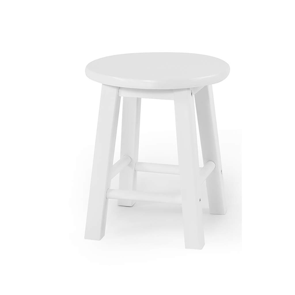 YANYUBIN Solid Wood Stool,Low Stool,Table and Stool,Changing His Shoes Stool,Small Bench,Can Be Used for Changing Shoes and Dining Stools (Color : White)