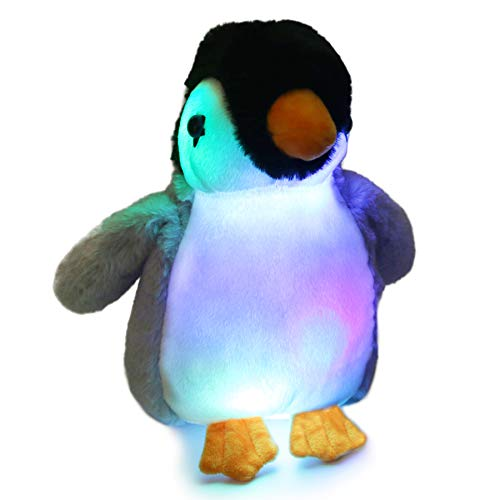 Bstaofy Glow Penguin Stuffed Animal Gray LED Soft Perky Adorable Floppy Plush Toy Nightlight Gift for Kids on Christmas Birthday Halloween Festival Occasions, 11''