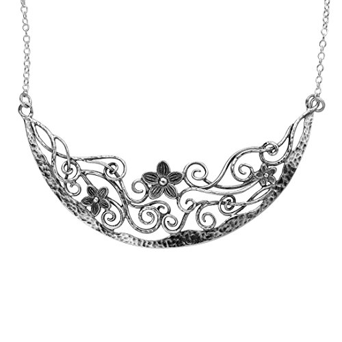 (Paz Creations .925 Sterling Silver Floral Necklace, Made in)