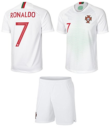 prtfc Cristiano Ronaldo Portugal #7 Away Kids Soccer Jersey and Shorts World Cup Kit All Youth Sizes (Kids Medium 8-10 years of age) (Kids World Cup Soccer Jersey)