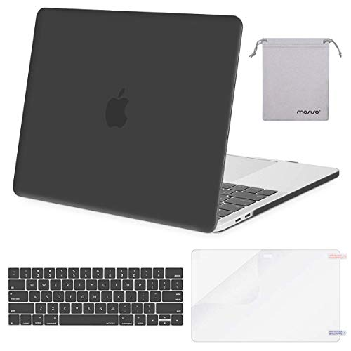 MOSISO Plastic Hard Case & Keyboard Cover & Screen Protector & Storage Bag Compatible with 2019 MacBook Pro 13 Inch, Pure Gray