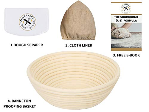 Zea Bakers - Bread Basket, 9 Inch Bread Proofing Basket Set - Includes: Banneton Proofing Basket for Bread Baking, Dough Scraper, Cloth Liner & Free E-Book with Sourdough Starter & - Proofing Basket