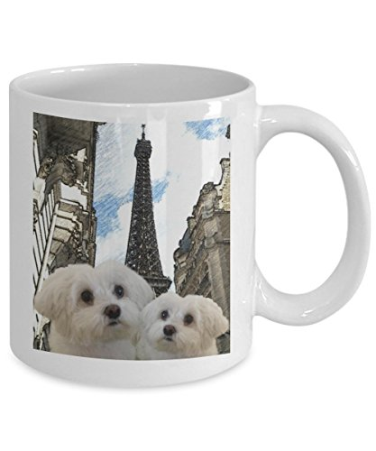 Picture Maltese Dogs in Paris Coffee Mugs or Tea Cup For Maltese Dogs Lovers and Friends