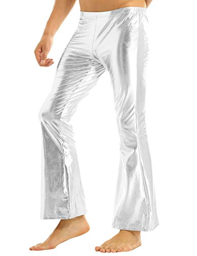 Mens White Disco Pants (YiZYiF Men's PVC Leather 60s 70s Shiny Metallic Long Pants Bell Bottom Flared Trousers Silver)