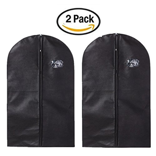 Yamde 2Pcs Black Breathable Garment Bag 40 Inch Dress / Garment Cover - Full Zip,dress cover bag、dress bag (Boyt Nylon Backpack)