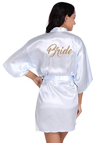 FEOYA Womens Bride Satin Plain Kimono Robe Short Nightdress Loungewear Size L - Light Blue
