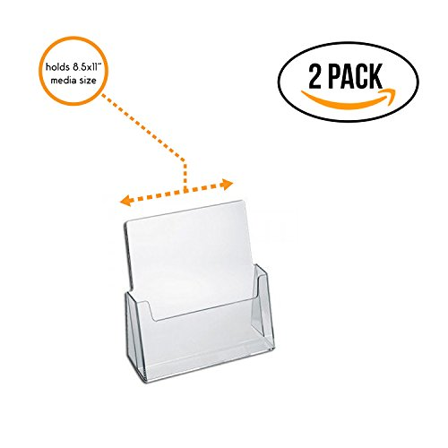 Source One Premium Counter Top Full Size, 8.5 x 11 Inches Wide Acrylic Brochure Holder (S1-CT-FS) (2 Pack) by SourceOne