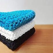 Blue 100% Cotton Crocheted Washcloths/Dishcloths - Set of 3