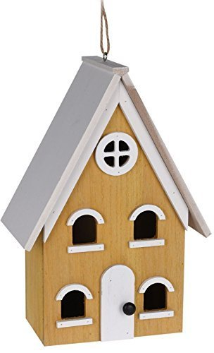 Wooden Hanging Large Tall Free Standing Wild Small Bird Robin Sparrow Bluetit Traditional House Nesting Box Decorative Garden Outdoor Home Shelter Ornament Roosting Hut New[Yellow] Koopman