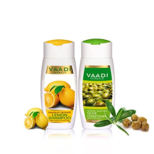 Lemon Shampoo & Olive Conditioner - Hair Fall and Damage Control Shampoo - All Natural - Suitable for All Hair Types - Each Pack of 110ml - Vaadi Herbals