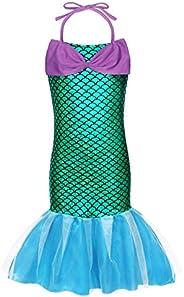 HenzWorld Little Girls Mermaid Swimsuit Princess Dress Up Tankinis Swimwear Bathing