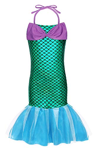 AmzBarley Ariel Outfit for Girls Princess Costume Dress up Little Mermaid Birthday Fancy Party Cosplay Holiday School Show Clothes Size 10 from AmzBarley