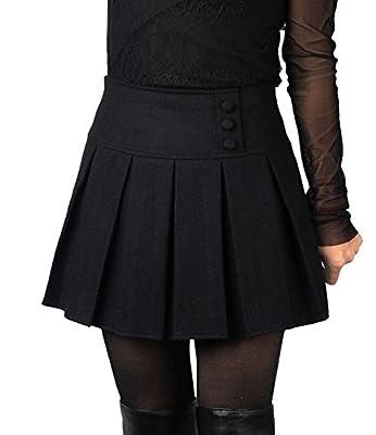 Divas Love Women's Plaid High Waist A-Line Pleated Skirt