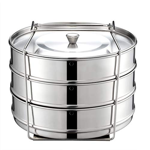 Sumerflos Stackable Steamer Insert Pans - with Vent Holes for Instant Pot Accessories 5/6/8 qt - Stainless Steel Food Steamer for Pressure Cooker, Pot in Pot Baking - Cook 3 Dishes at Same Time