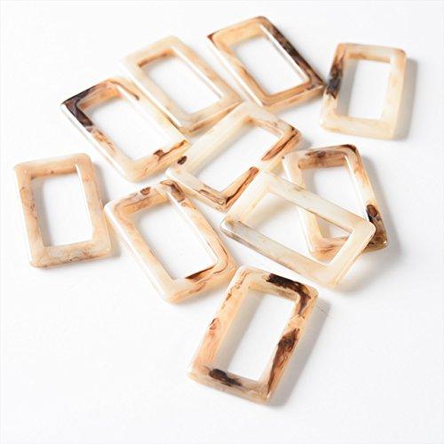 紗や工房 樹脂パーツ レクタングルフレーム 一つ穴 約40mm マーブルホワイト 10個 10ヶ