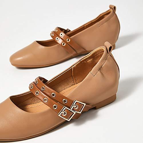 zapatos Superior Para Con Goma Brown Zapatos Mary Pu Mujer Mujer Cuero Y Cordones De Top Primavera Jane Suela Yxx Parte Cuadrado Cordones 4qfdpw4