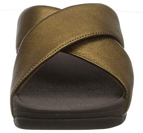 012 Femme leather Ouvert Brown Fitflop Cross Lulu Slide Sandals Bout bronze xSCHOT