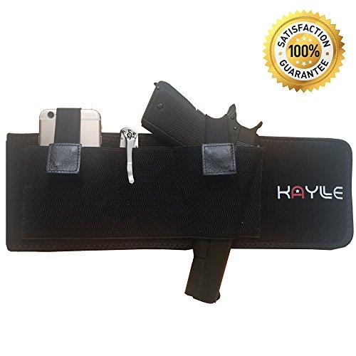 KAYLLE Belly Band Concealed Carry Holster - Neoprene Elastic Inside Waistband Gun Holster for Women & Men - Fits Glock 17 19 43 30s 23 26 22 23 9mm Ruger Sig Sauer Bodyguard Springfield S&W M&P (Left)