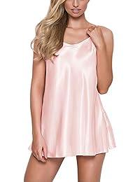 e4d3e3519b Women s Pajamas Satin Lingerie Nightgown Spaghetti Strap Sleepwear Slik  Chemise Mini Slip Short Nightwear