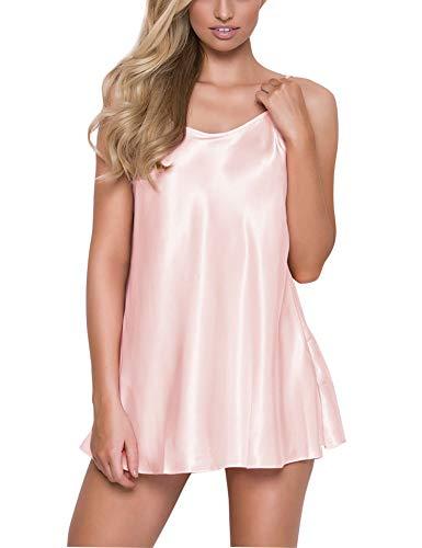 (RSLOVE Women's Pajamas Satin Lingerie Nightgown Spaghetti Strap Sleepwear Slik Chemise Mini Slip Short Nightwear Pink XL)