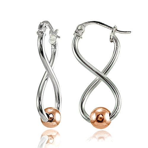 (Sterling Silver Two-Tone Rose Gold Infinity Figure 8 Bead Drop Earrings)