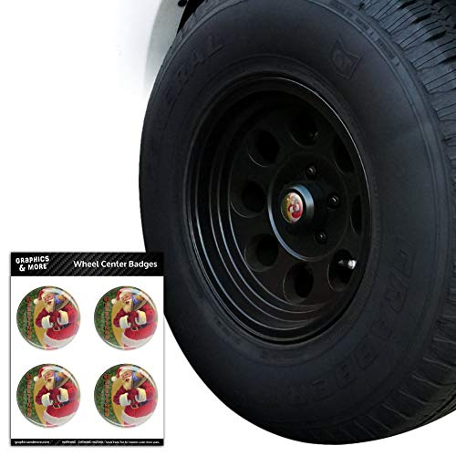 Resin Holly - Christmas Holiday Greetings Santa Claus Holly Tire Wheel Center Cap Resin-Topped Badges Stickers - 1.8