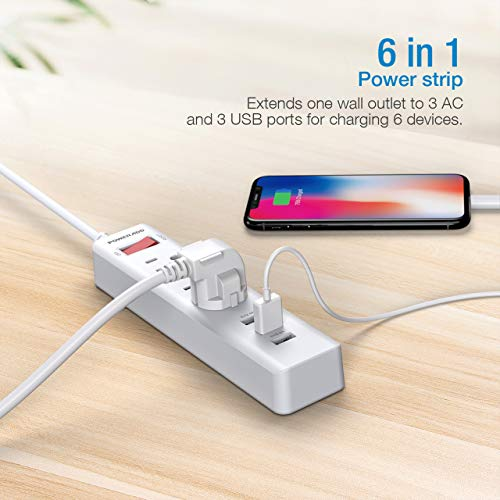 POWERADD Power Strip 3 Outlets with 3 Fast Charging USB Ports, 5ft Extension Cord with USB Ports (5V/2.4AX3) for Indoor,1625W/13A