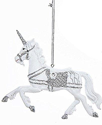 Kurt Adler Silver Glitter Fantasy Horse Ornament (Unicorn)