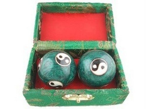 Japan-bargain-Baoding-Chinese-Health-Exercise-Stress-Balls-Green