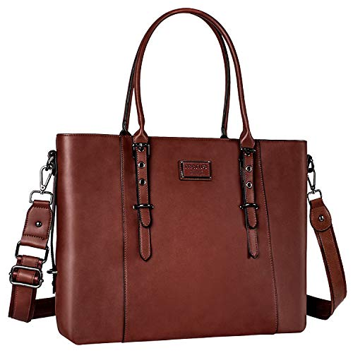 MOSISO Laptop Tote Bag for Women (Up to 15.6 Inch),Water Resistant PU Leather Large Capacity with Padded Compartment Business Work Shoulder Briefcase Handbag Compatible MacBook & Notebook,Brown