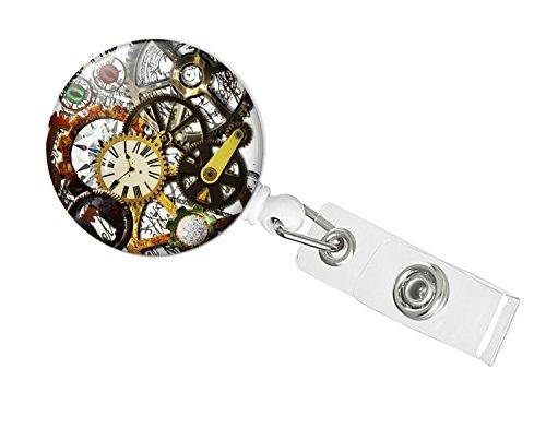 Steampunk Retractable Badge Holder | Slide-on (Timekeepers) (Trinket Keeper)