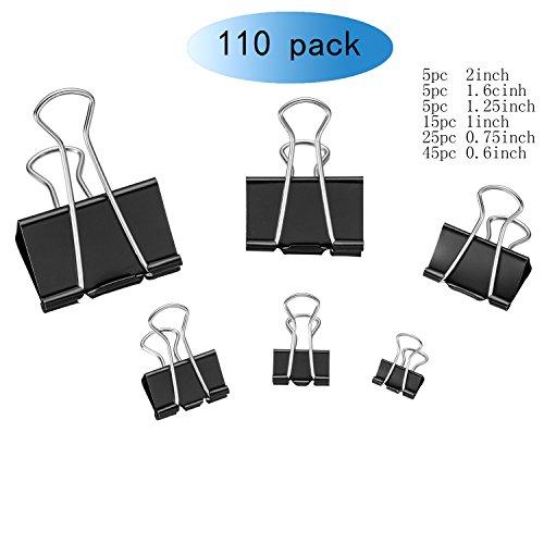 Tissir Black Binder Clips, Folder Clip, 110pc Paper Clip - Multi-Purpose Clip for Office/Home by Tissir