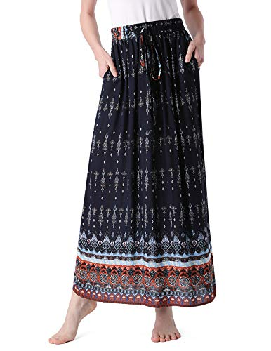 MAVIS LAVEN Elastic Waist Drawstring Maxi Skirts Bohemian High Waisted Skirts Navy Blue - Skirt Canvas