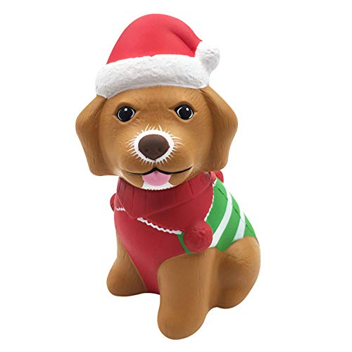 L.DONG Squishy Toys Christmas Dog Super Soft Slow Rising Cute Animal Squishies Pet Party Favors Decoration Toys Stress Relief Charms Funny Squeeze for Kids Adults Gift Back to School