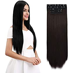 "REECHO 18"" Straight Long 4 PCS Set Thick Clip in on Hair Extensions Dark Brown"