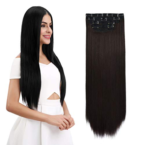 """REECHO 18"""" Straight Long 4 PCS Set Thick Clip in on Hair Extensions Dark Brown"""