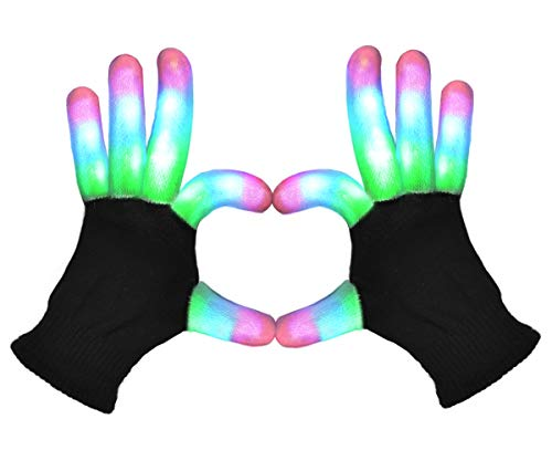 (POPCHOSE LED Light Up Gloves Finger Light Gloves 3 Colors 6 Modes LED Gloves for Christmas Xmas Halloween Costume Dance Dubstep Birthday)