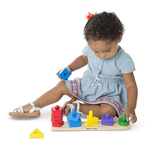 41vKgy0sg9L - Melissa & Doug Stack and Sort Board - Wooden Educational Toy With 15 Solid Wood Pieces