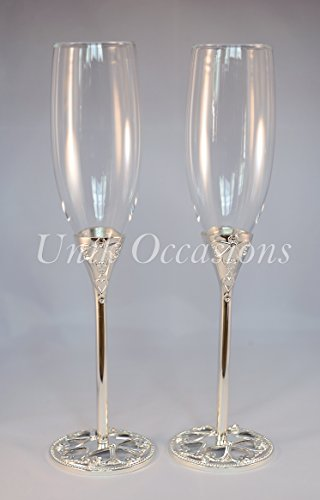 Unik Occasions Wedding Toasting Flutes/Champagne Glasses (Toasting Reception Flutes)