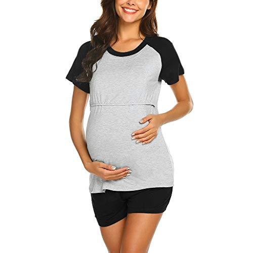 Pinstripe Backpack Fleece - Toponly 2PCS Women Maternity Patchwork Short Sleeve Nursing Baby Tops T Shirt+Adjustable Shorts Pajamas Sets Black