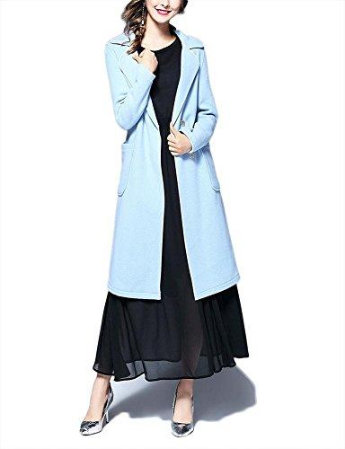 cintura Slim las otoño de collar ropa hebilla lana invierno de traje Fit de oscura Outwear abrigo rompevientos mujeres de de con de Chaqueta blue cachemira qfBYUU