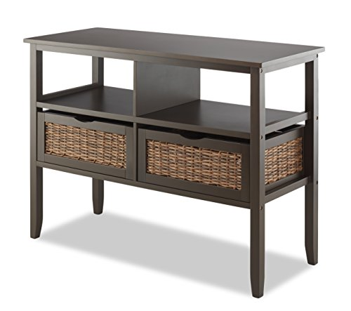 Whitmor BAHAMA 2-Drawer Storage Console Entryway Table, Espresso - 2 Drawer Painted Side Table