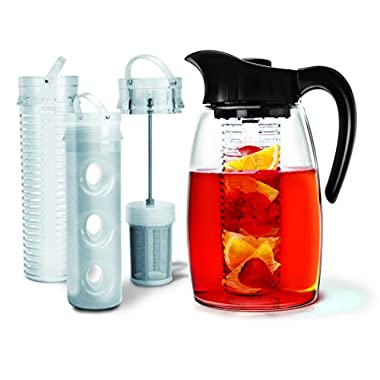 Primula Flavor-It Infusion Pitcher 3-in-1 Beverage System, Black, 2.9 quart