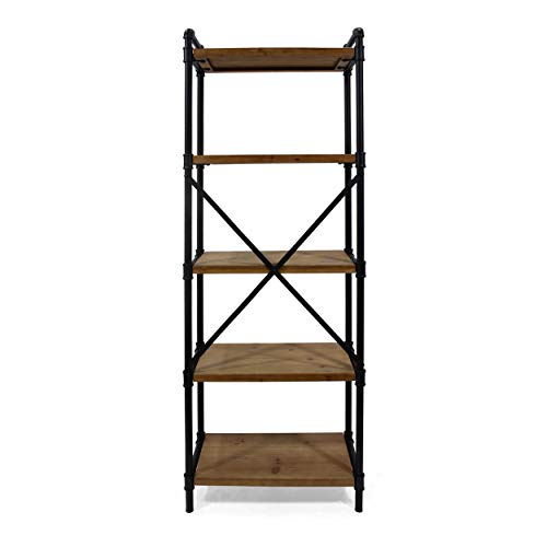 Great Deal Furniture Lina Industrial Iron Five Shelf Bookcase, Black and Antique Brown ()