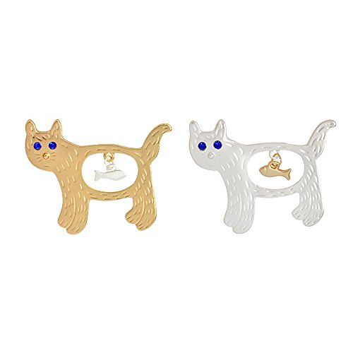 (Fashion Cartoon Enamel Brooch Pins Set for Unisex Child Women's Clothing Decorate (Cats with Fish Pendant Set))